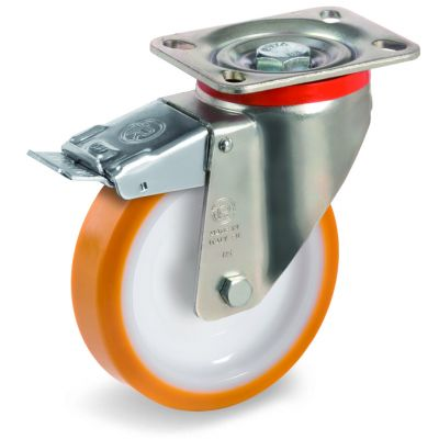 Cast Polyurethane Tyre Bonded to Nylon Centre, Swivel Top Plate Castor with Brake, P Duty