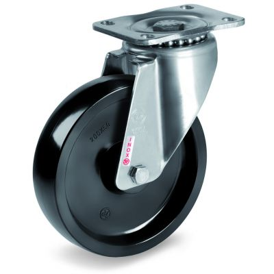 Thermosetting Resin High Temperature Wheel, Stainless Steel Swivel Top Plate Castor, NLX Duty
