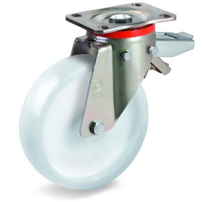 Polyamide 6 Solid Wheel, Swivel Top Plate Castor with Brake, P Duty