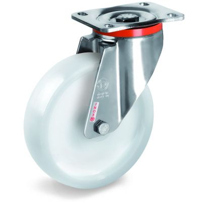 Polyamide 6 Solid Wheel, Stainless Steel Swivel Top Plate Castor, PX duty