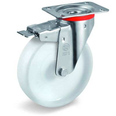 Polyamide 6 Solid Wheel, Stainless Steel Swivel Top Plate Castor with Brake, NLX Duty