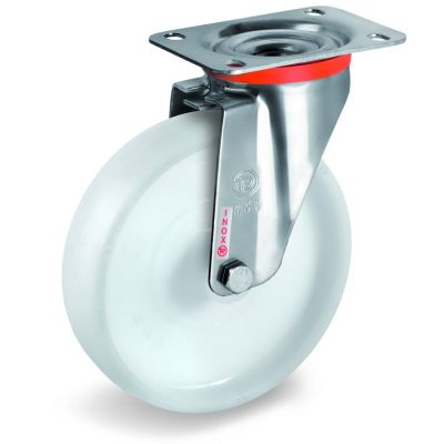 Polyamide 6 Solid Wheel, Stainless Steel Swivel Top Plate Castor, NLX Duty