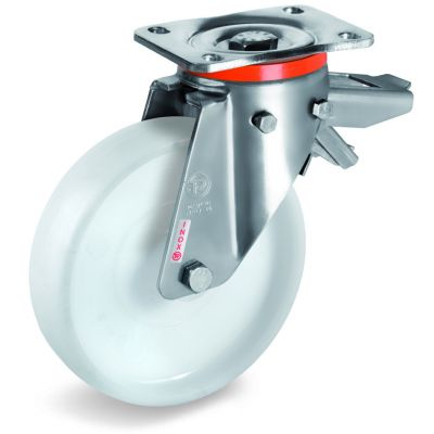 Polyamide 6 Solid Wheel, Stainless Steel Swivel Top Plate Castor with Brake, PX duty