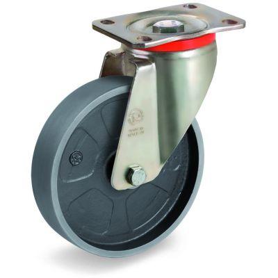 Cast Iron Wheel, Swivel Top Plate Castor, P Duty