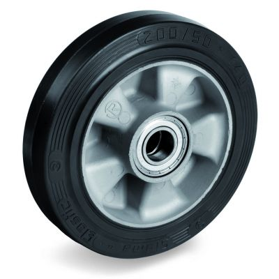 Elastic Rubber Tyre Bonded to Aluminium Centre, Wheel, Ball Bearing