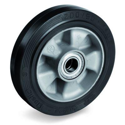 Elastic Rubber Tyre Bonded to Aluminium Centre, Wheel, Ball Bearing Facility