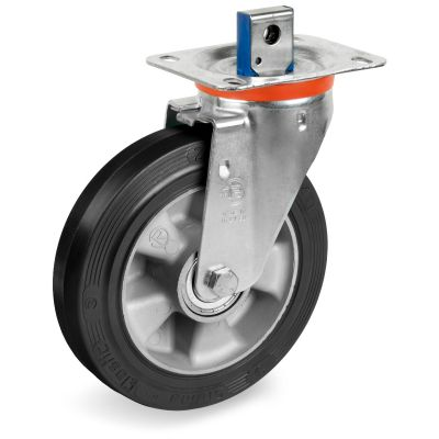 Elastic Rubber Tyre Bonded to Aluminium Centre, Swivel Top Plate Central Locking Castor