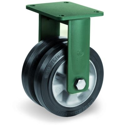 Elastic Rubber Tyre Bonded to Aluminium Centre, Electro Welded Fixed Top Plate Castor, EEG HD Duty