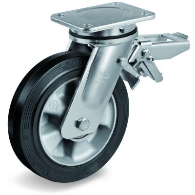 Elastic Rubber Tyre Bonded to Aluminium Centre, Electro Welded Swivel Top Plate Castor with Brake, EE MHD Duty