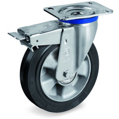 Elastic Rubber Tyre Bonded to Aluminium Centre, Swivel Top Plate Castor with Brake, M Duty