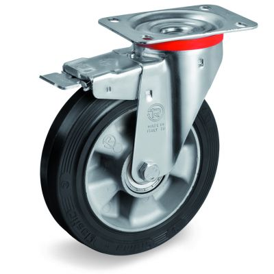 Elastic Rubber Tyre Bonded to Aluminium Centre, Swivel Top Plate Castor with Brake, NL Duty