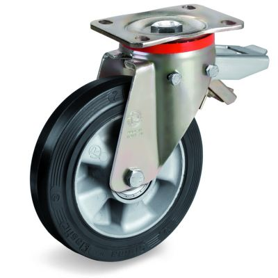 Elastic Rubber Tyre Bonded to Aluminium Centre, Swivel Top Plate Castor with Brake, P Duty