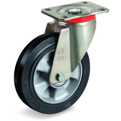 Elastic Rubber Tyre Bonded to Aluminium Centre, Swivel Top Plate Castor, P Duty