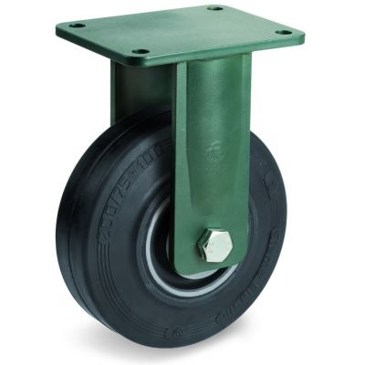 Vulcanised Sigma Elastic Rubber Tyre with Cast Iron Centre, Electro Welded Fixed Top Plate Castor, EE HD Duty