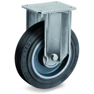 Vulcanised Sigma Elastic Rubber Tyre with Cast Iron Centre, Fixed Top Plate Castor, EP Duty