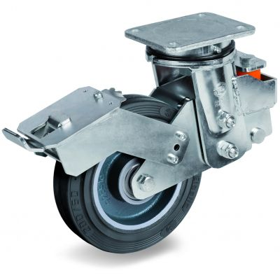 Vulcanised Sigma Elastic Rubber Tyre with Cast Iron Centre, Electro Welded Sprung Loaded Swivel Top Plate Castor with Brake, EES MHD Duty