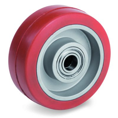 Red Non-Marking Silicon Rubber Tyre with Aluminium Centre, Wheel, Ball Bearing