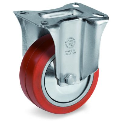 Red Non-Marking Silicon Rubber Tyre with Aluminium Centre, Fixed Top Plate Castor, NL Duty