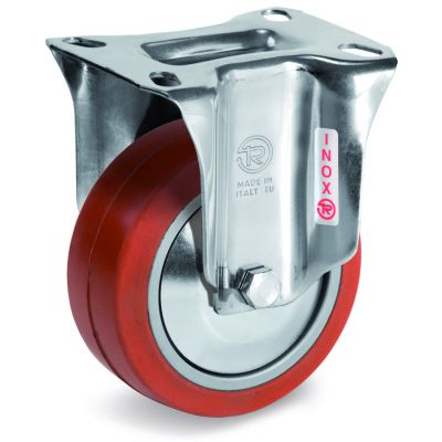 Red Non-Marking Silicon Rubber Tyre with Aluminium Centre, Stainless Steel Fixed Top Plate Castor, NLX Duty