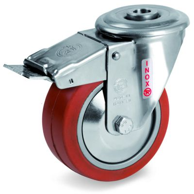 Red Non-Marking Silicon Rubber Tyre with Aluminium Centre, Stainless Steel Swivel Top Plate Castor with Brake, NLX Duty