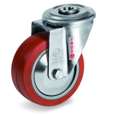 Red Non-Marking Silicon Rubber Tyre with Aluminium Centre, Stainless Steel Bolt Hole Castor, NLX Duty
