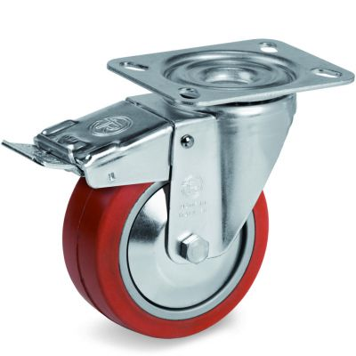 Red Non-Marking Silicon Rubber Tyre with Aluminium Centre, Swivel Top Plate Castor with Brake, NL Duty
