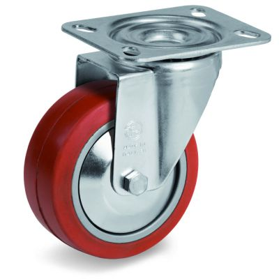 Red Non-Marking Silicon Rubber Tyre with Aluminium Centre, Swivel Top Plate Castor, NL Duty