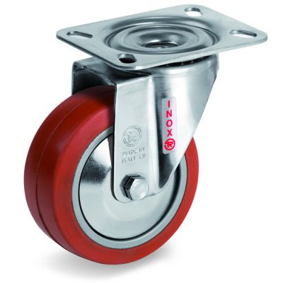 Red Non-Marking Silicon Rubber Tyre with Aluminium Centre, Stainless Steel Swivel Top Plate Castor, NLX Duty