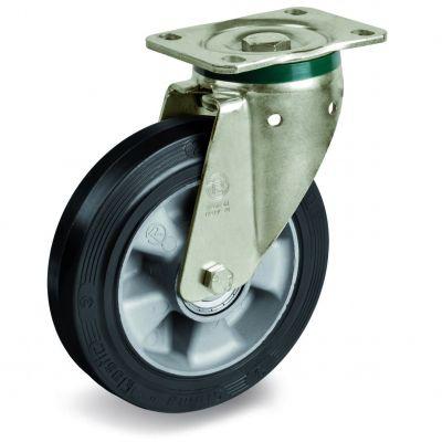 Elastic Rubber Tyre Bonded to Aluminium Centre, Swivel Top Plate Castor, PT Duty
