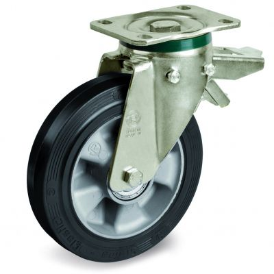 Elastic Rubber Tyre Bonded to Aluminium Centre, Swivel Top Plate Castor with Brake, PT Duty