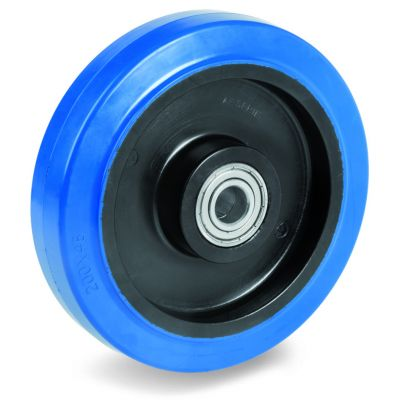 Blue Non-Marking Elastic Rubber Tyre with Black Polyamide 6 Centre, Wheel, Ball Bearing