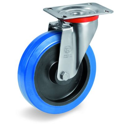 Blue Non-Marking Elastic Rubber Tyre with Black Polyamide 6 Centre, Swivel Top Plate Castor, NL Duty