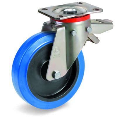 Blue Non-Marking Elastic Rubber Tyre with Black Polyamide 6 Centre, Swivel Top Plate Castor with Brake, P Duty