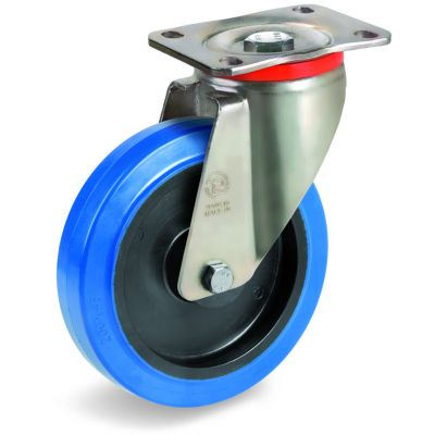 Blue Non-Marking Elastic Rubber Tyre with Black Polyamide 6 Centre, Swivel Top Plate Castor, P Duty