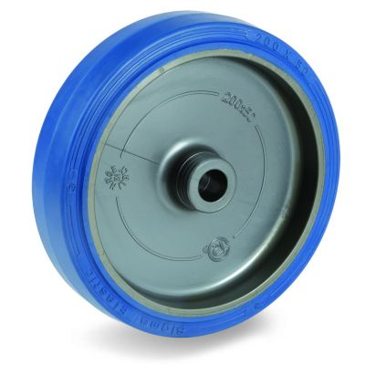 Blue Non-Marking Sigma Elastic Tyre Bonded to Polyamide 6 Centre, Wheel, Plain Bore