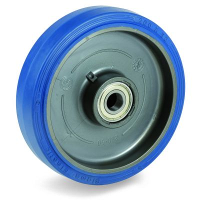 Blue Non-Marking Sigma Elastic Tyre Bonded to Polyamide 6 Centre, Wheel, Stainless Steel Ball Bearing
