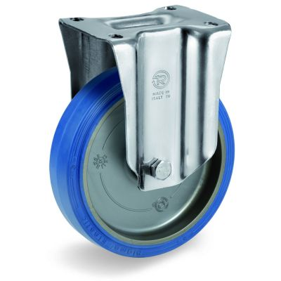 Blue Non-Marking Sigma Elastic Tyre Bonded to Polyamide 6 Centre, Fixed Top Plate Castor, M Duty