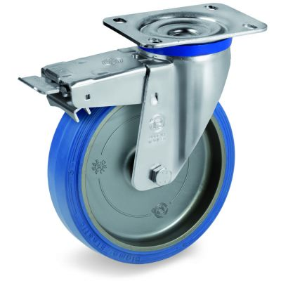 Blue Non-Marking Sigma Elastic Tyre Bonded to Polyamide 6 Centre, Swivel Top Plate Castor with Brake, M Duty