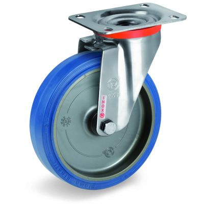 Blue Non-Marking Sigma Elastic Tyre Bonded to Polyamide 6 Centre, Stainless Steel Swivel Top Plate Castor, NLX Duty