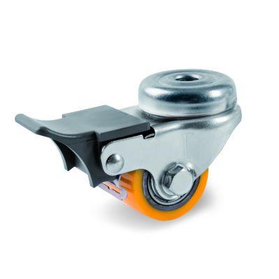 TR Polyurethane Pallet Truck Roller with Steel Centre, Bolt Hole Castor with Brake