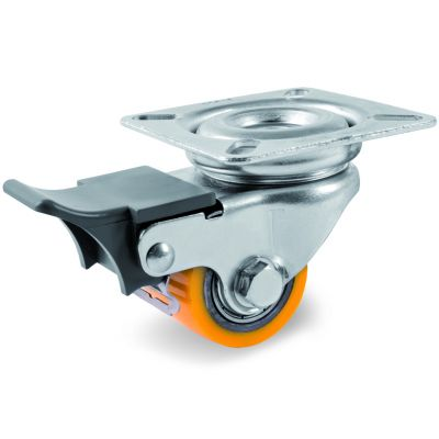 TR Polyurethane Pallet Truck Roller with Steel Centre, Swivel Top Plate Castor with Brake