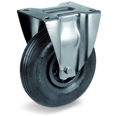Pneumatic Tyre with Plastic Centre, Fixed Top Plate Castor with Ribbed Tyre, NL Duty