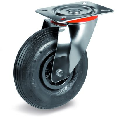 Pneumatic Tyre with Plastic Centre, Swivel Top Plate Castor with Ribbed Tyre, NL Duty