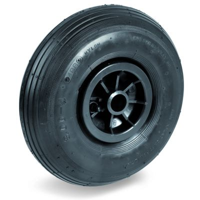 Pneumatic Tyre with Plastic Centre, Ribbed Tyre, Plain Bore