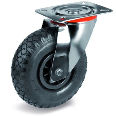Pneumatic Tyre with Plastic Centre, Swivel Top Plate Castor with Cross Country Tyre, NL Duty