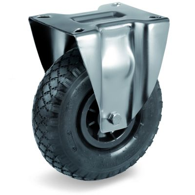 Pneumatic Tyre with Plastic Centre, Fixed Top Plate Castor with Cross Country Tyre, NL Duty