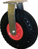 Black Puncture Proof Pneumatic Tyre with Red Plastic Centre, Fixed Top Plate Castor