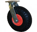 Black Puncture Proof Pneumatic Tyre with Red Plastic Centre, Swivel Top Plate Castor
