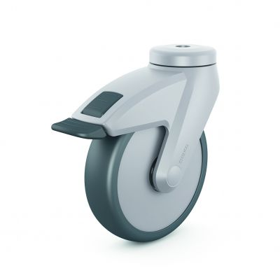 Full Nylon Body Castor, with grey TPR Tyre Bonded to Platic Centre, Swivel Bolt Hole Castor with a brake