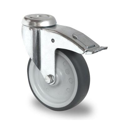 Grey TPR Tyre with Polypropylene Centre, Bolt Hole Castor with Brake